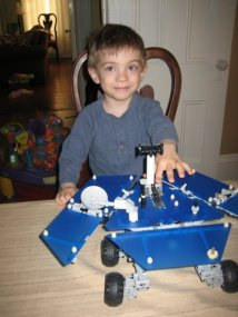 My BigGuy with his Lego Mars Rover--which he loved as much for the Legos as for it being the Rover.  Age 4